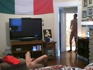 hidden camera catches guy's horny busty wife having crazy sex with another man's huge BBC while he's off at work!!!
